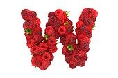 Raspberry letter W on white background