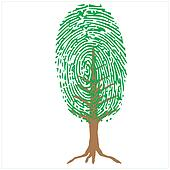 thumbprint as green tree