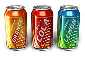 Refreshing drinks in metal cans