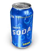 Refreshing soda drink in metal can
