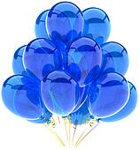 Party balloons blue translucent