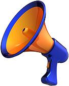 Megaphone stylish orange blue
