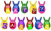 Easter Bunny Eggs Holding Alphabet Greeting Signs