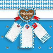 Bavarian Oktoberfest Price Stickers Heart Edelweiss