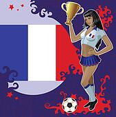 French football poster with girl