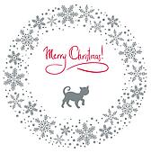 christmas wreath with cat