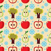 seamless apple tree pattern