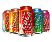 Set of refreshing soda drinks
