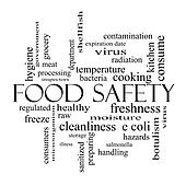 Food Safety Word Cloud Concept in black and white