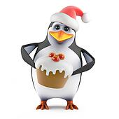 3d Santa penguin has a tasty Xmas cake