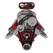 Hot rod V8 Engine 3D render