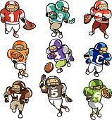 cartoon football player icon