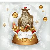 Owl standing in Christmas snowglobe