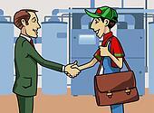 Customer and technician
