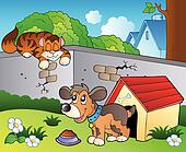 Backyard with cartoon cat and dog