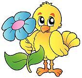 Chicken holding big flower