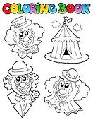 Coloring book with clown images