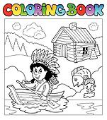 Coloring book with Indian in boat