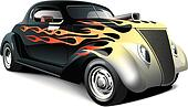 hot rod with flame ornaments