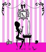 Silhouette of a Girl at her Vanity Table