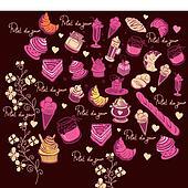 Symbols of Paris. Culinary pattern.