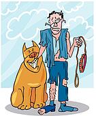 Bad dog and his battered owner