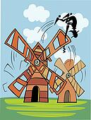 Don Quixote and wind mill