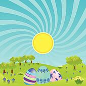 Morning landscape with easter eggs
