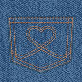 Jeans pocket and heart form stitch