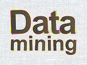 Information concept: Data Mining on fabric texture background