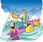 Girl in kayak and laughing boy