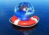 Earth globe in lifebuoy