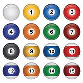 Image of a collection of colorful billiard balls isolated on a white background.
