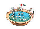 Swimming season.
