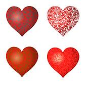 Set of hearts with a pattern