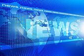 words News on digital blue background