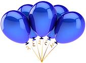 Blue helium balloons in a bunch