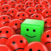 green cube smiley happy