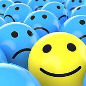 close up happy smiley beteen sad ones