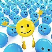 yellow jumping smiley between sad blues