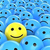 happy smiley between sad ones