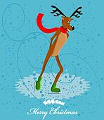 reindeer ice skating card