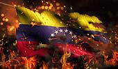 Venezuela Burning Fire Flag War Conflict Night 3D