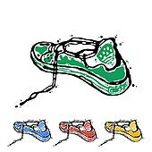 Symbol of sports shoes. Logo for running.