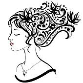Woman face  with floral hairstyle