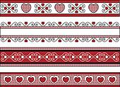 Four Valentine Borders With Gingham