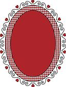 Oval Valentine Frame or Tag With Gi
