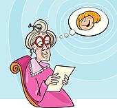 Grandma reading letter from granddaughter