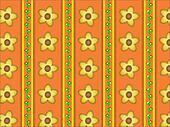 Vector Floral Orange Striped Wallpa