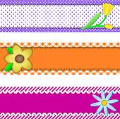 Jpg, Three Banners with Flowers